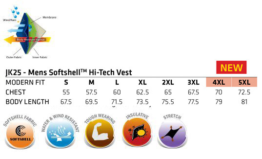 JK25 Men's Softshell Hi-Tech Vest