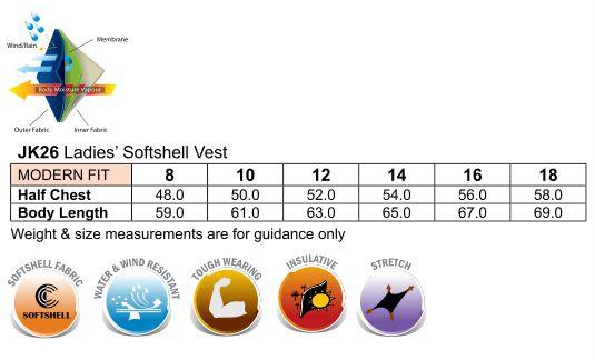 JK26 Ladies' Softshell Hi-Tech Vest