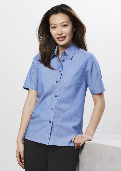 Ladies Wrinkle Free Chambray Short Sleeve Shirt – LB6200