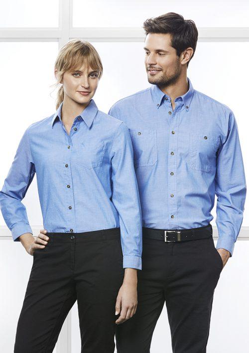 Mens Wrinkle Free Chambray Long Sleeve Shirt – SH112