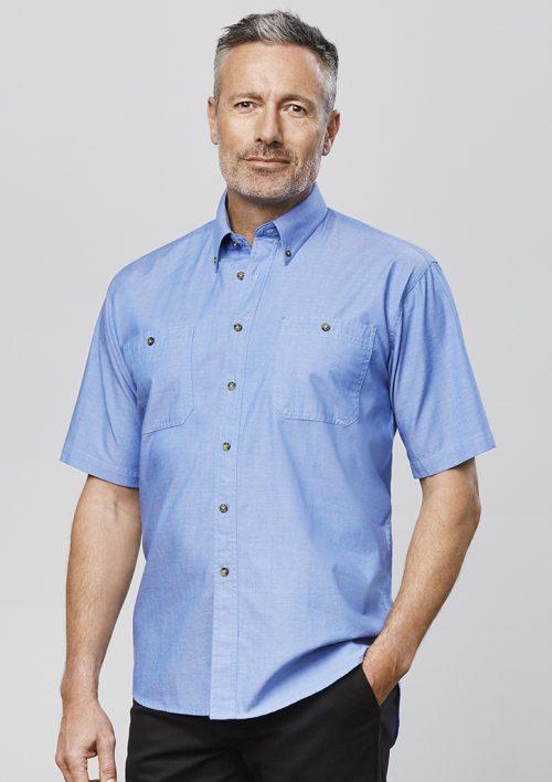 Mens Wrinkle Free Chambray Short Sleeve Shirt – SH113