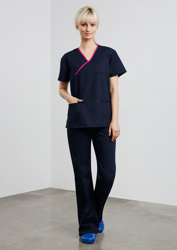 Ladies Contrast Crossover Scrubs Top – H10722