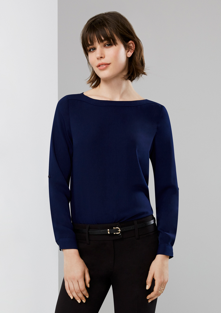 Ladies Madison Boatneck Blouse – S828LL