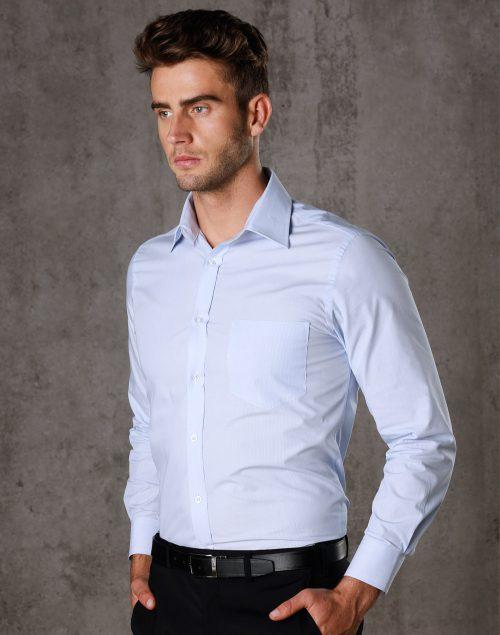 Men's Fine Stripe Long Sleeve Shirt – M7212