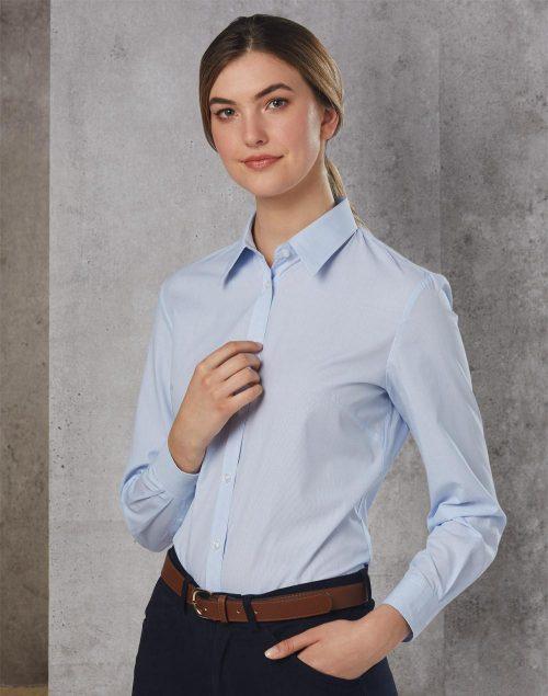 Women's Fine Stripe Long Sleeve Shirt – M8212