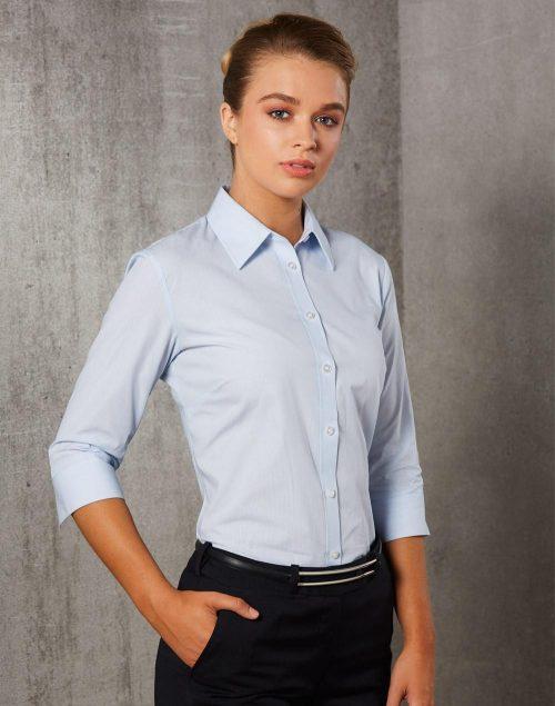 Women's Fine Stripe 3/4 Sleeve Shirt – M8213