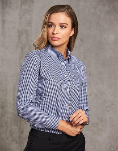 Ladies' Multi-Tone Check Long Sleeve Shirt – M8320L